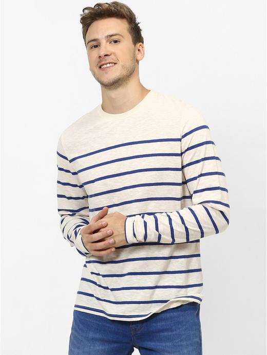 Blue Striped Regular Fit T-Shirt
