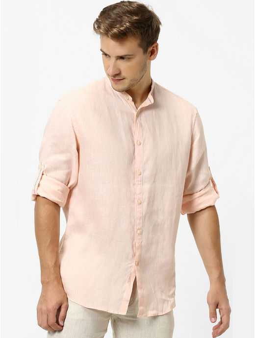 Peach Solid Casual Shirt