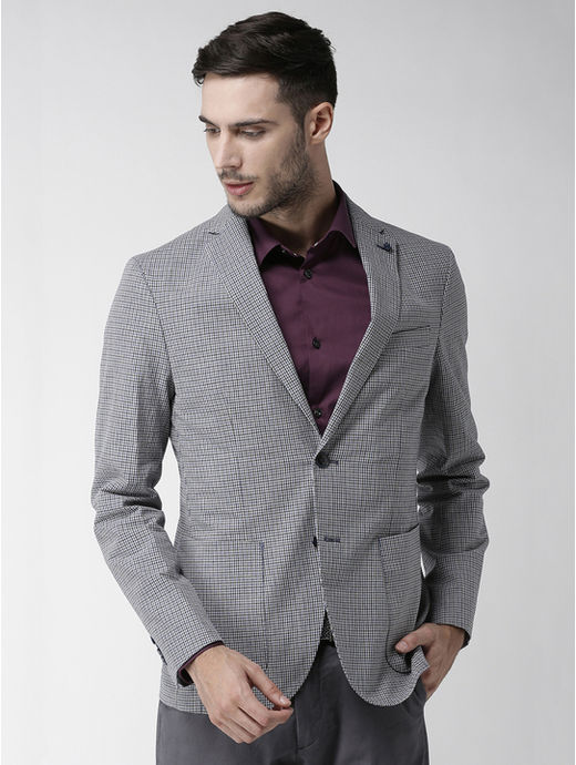 Blue Checked Slim Fit Blazer