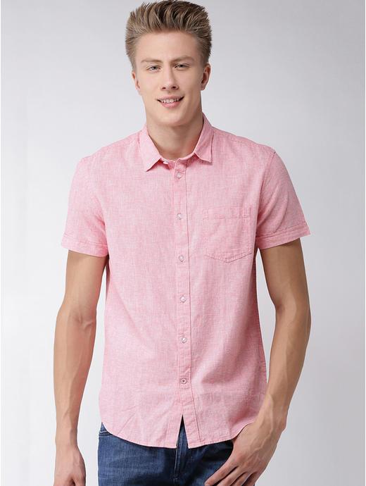 Pink Printed Regular Fit Casual Shirt