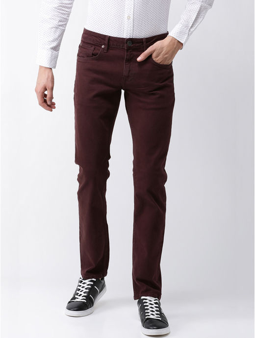 Maroon Tapered Slim Fit Chinos