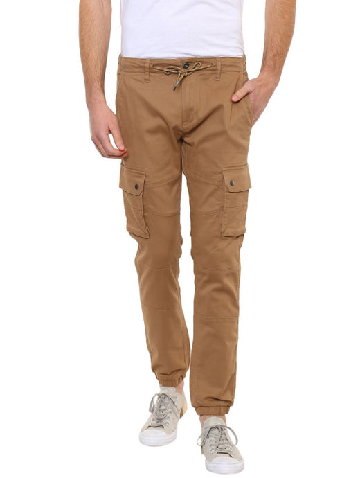 Tan 01 Solid Casual Joggers
