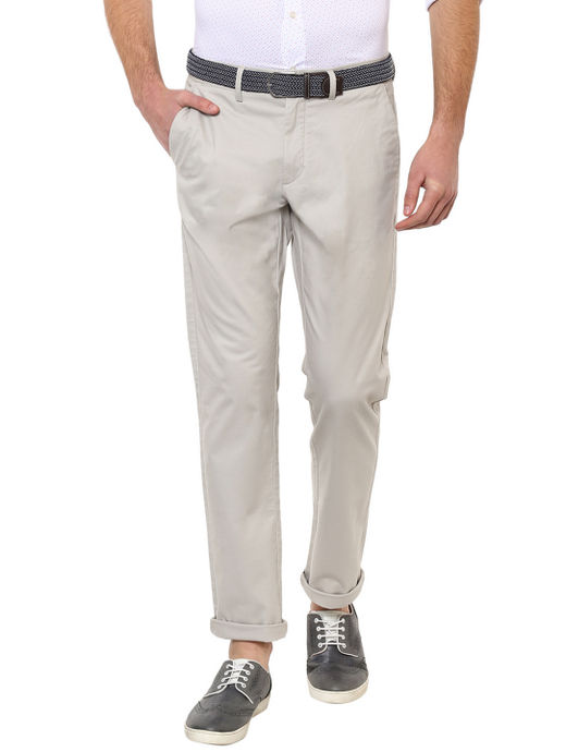 Cream Solid Straight Chinos