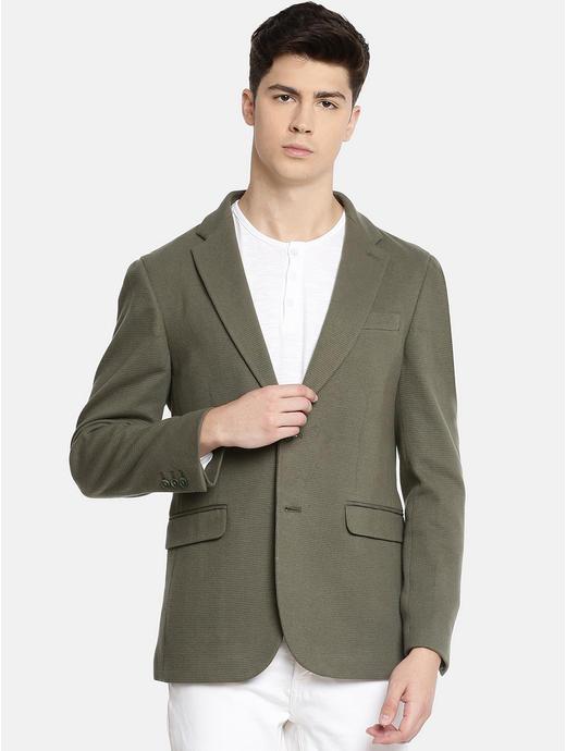 Khaki Solid Blazer