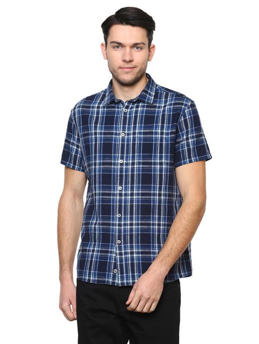Indigo Checked Casual Shirt