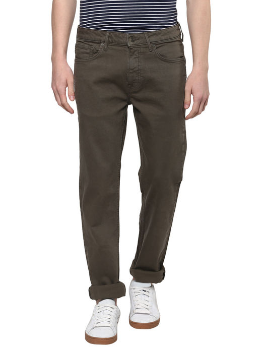Olive Solid Straight Jeans