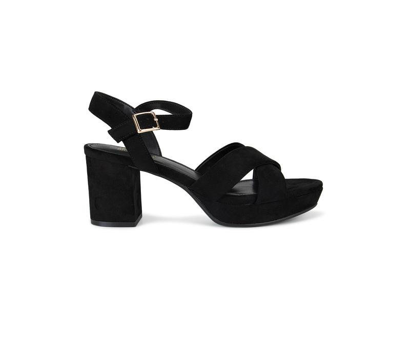 Black Criss Cross Strap Block Heels
