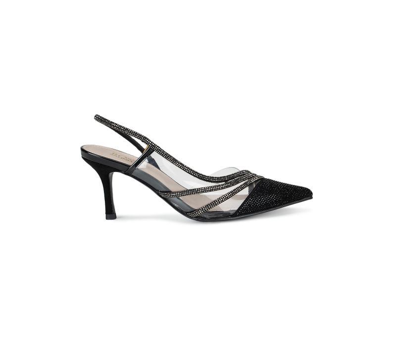 Black Pointed Toe Heels With Sequined Straps