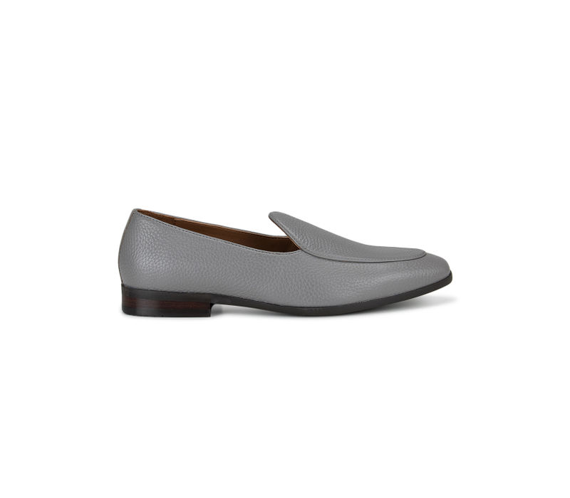 Grey Textured Leather Loafers