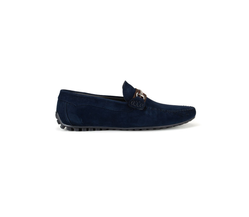 Navy Blue Metal Buckled Suede Moccasins