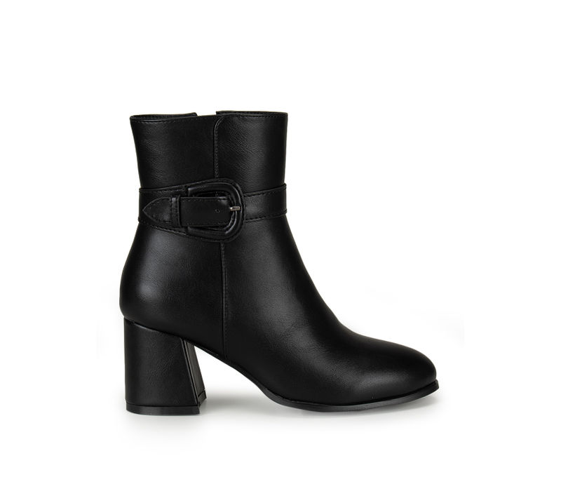 Black Zipped Ankle Length Boots