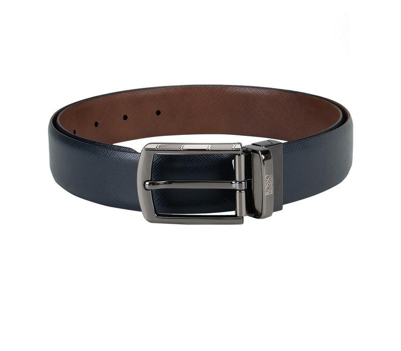 Blue and Tan Reversible Belt