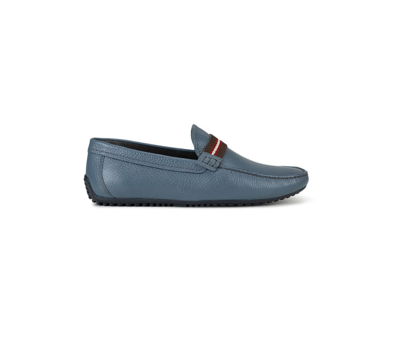 Light Blue Textured Leather Moccasins