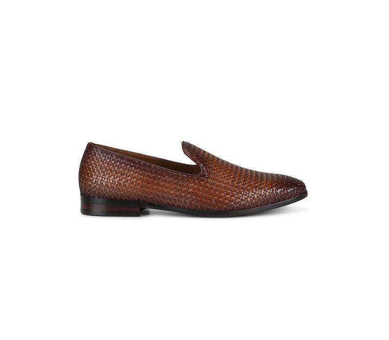 Tan Woven Pattern Loafers