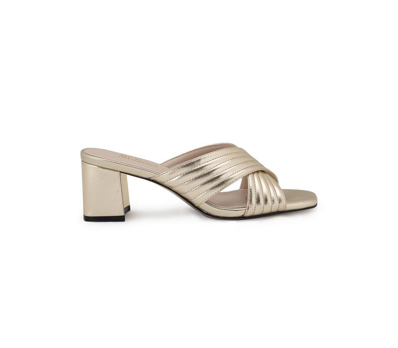 Gold Criss Cross Strap Heels