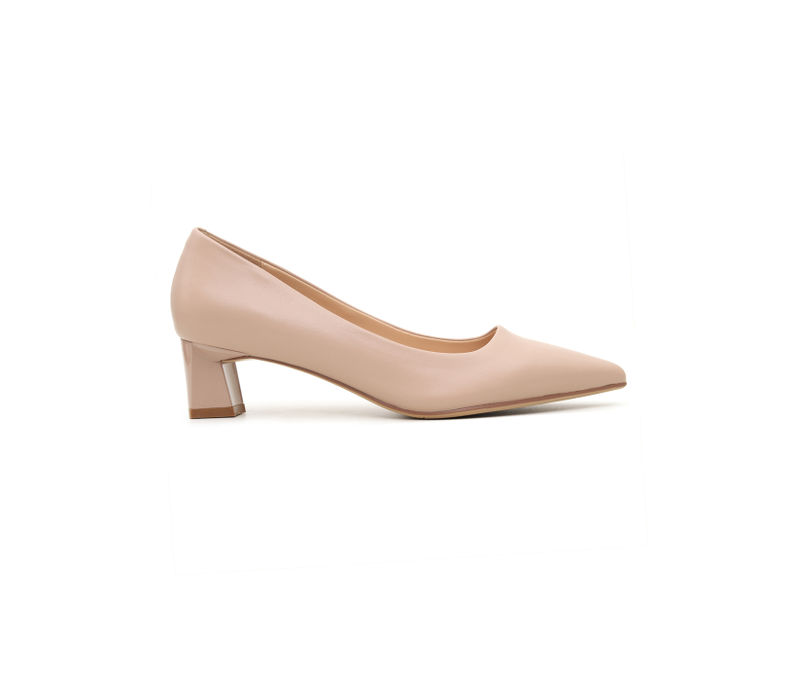 Plain Pink Block Heels