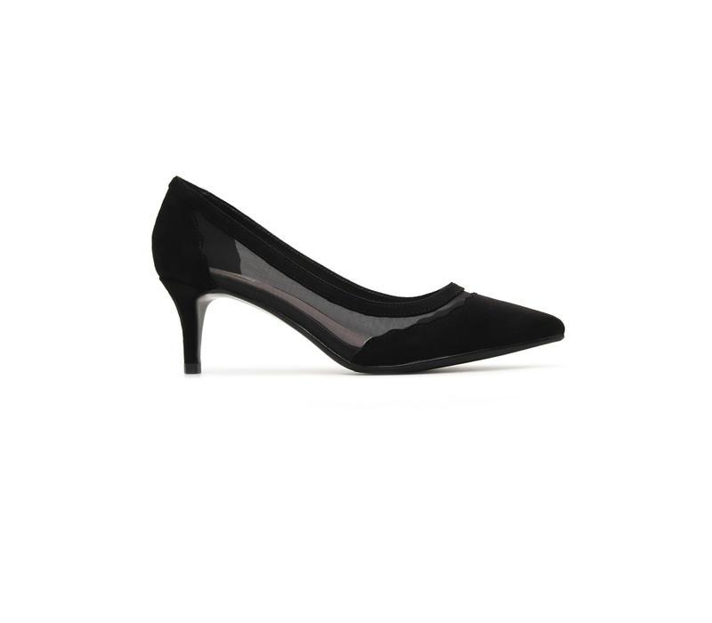 Black Heels With Mesh Detailing