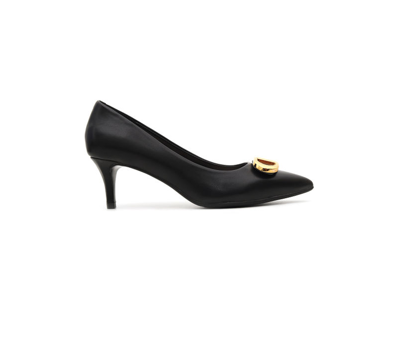 Black Heels With Metal Embellishment