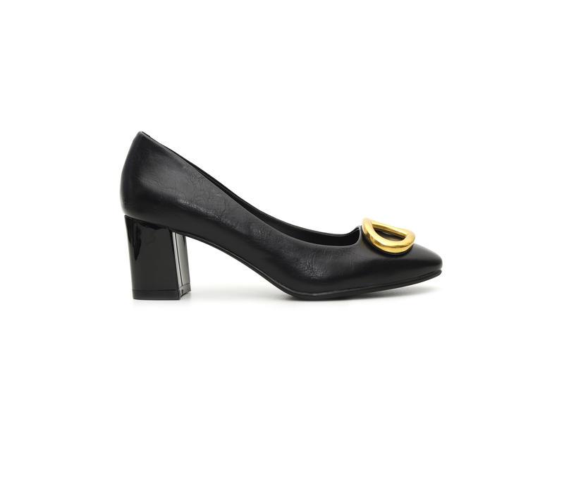 Black Block Heels With Metallic Buckle