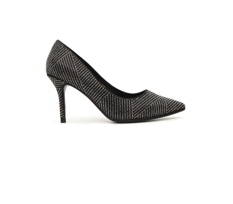 Embellished Black Pointed Toe Heels