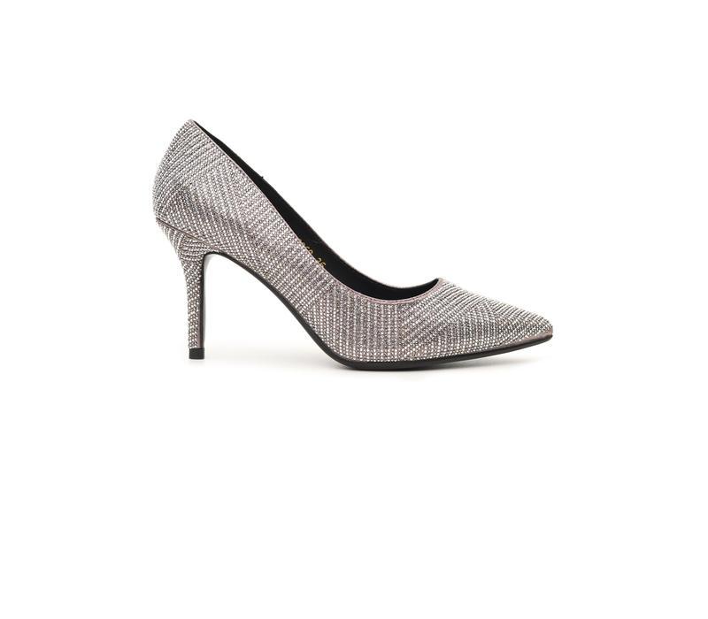 Embellished Pewter Pointed Toe Heels