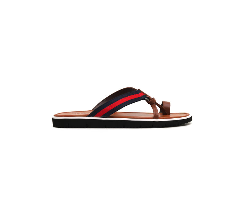 Strappy Toe-Ring Flat Slippers