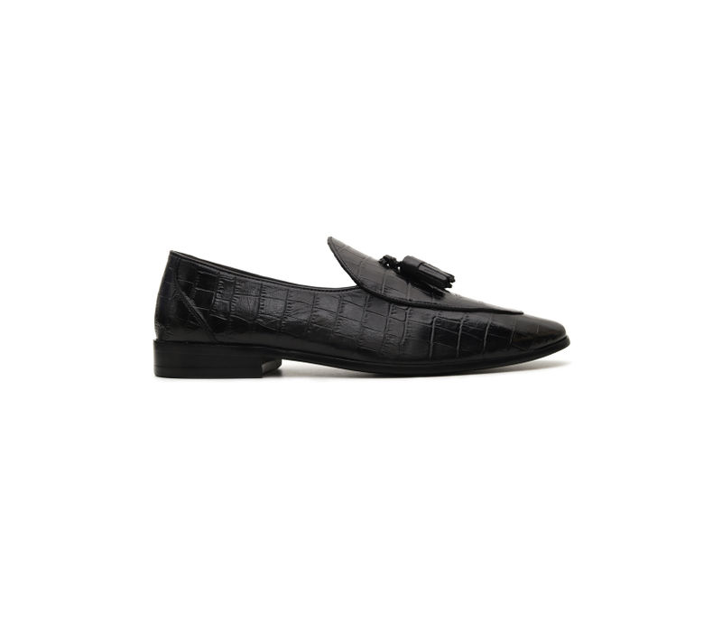 Croco Leather Loafers With Tassels