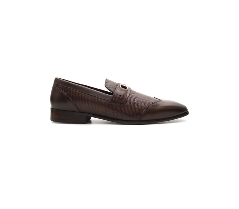 Textured Loafers With Metal Embellishment