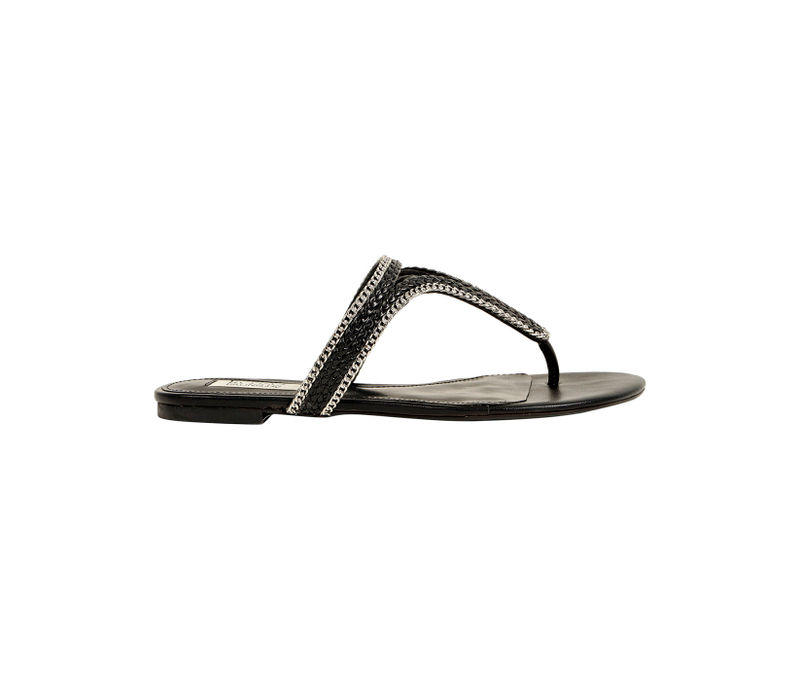 Slip On Sandal With Chain Detailing