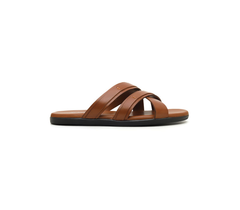 Criss Cross Brown Leather Slippers