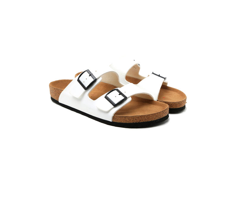 Cygna Double strapped silver/white Sandals