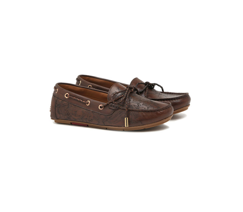 Women's Driving Shoes with Tassels- Brown