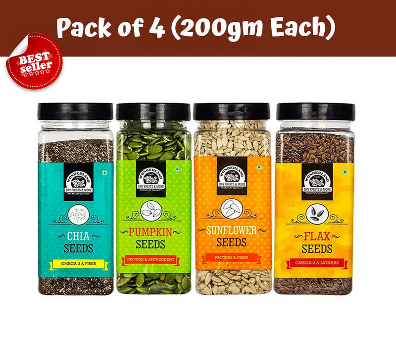 Roasted and Salted Chia Seeds 200gm + Pumpkin Seeds 200gm + Sunflower Seeds 200gm + Flax Seeds  200gm