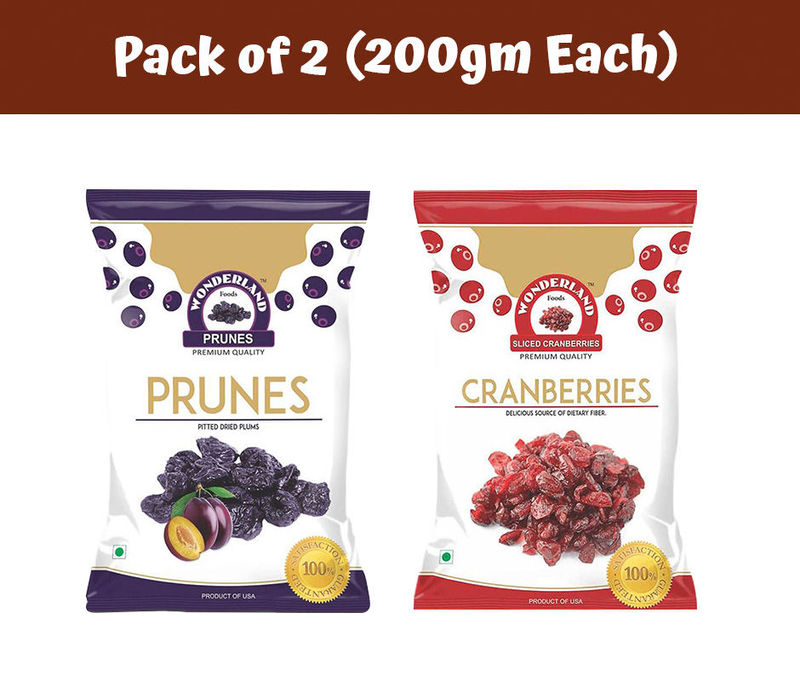 Dried Sliced Cranberries 200gm + Dried Pitted Prunes 200gm