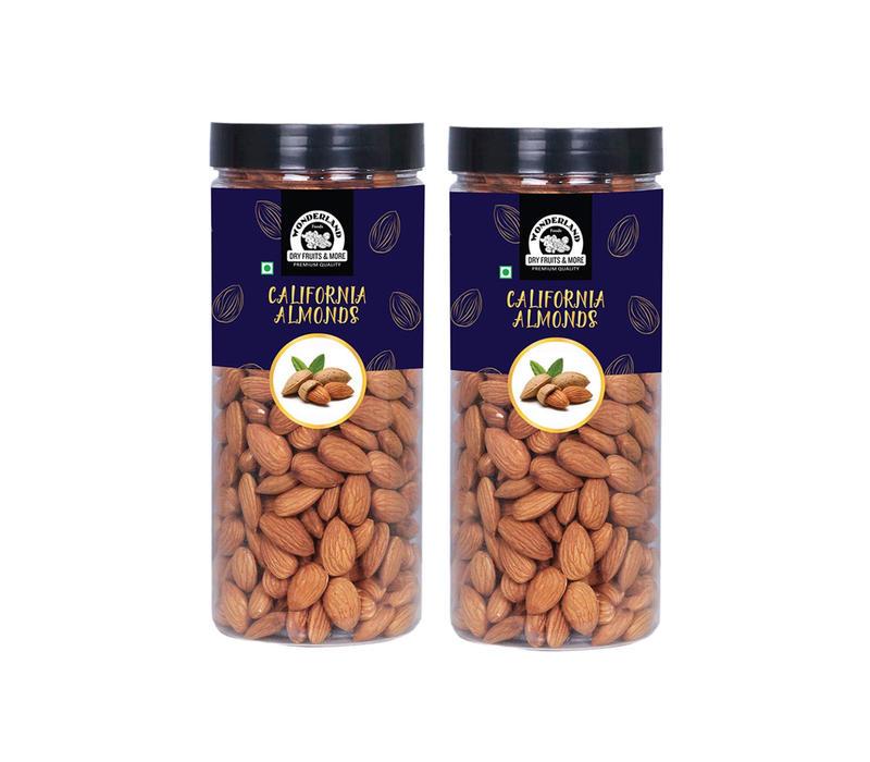Wonderland Foods Premium Quality California Almonds 1 KG (Pack of 2) (500G Each) (In Jar)