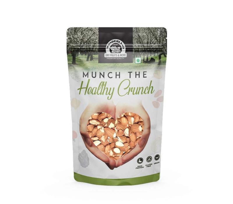 Wonderland Foods Almonds Split Nut, Big Size, (badam Tukda) Dry Fruit,900 Grams