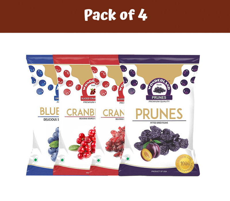 Dried Blueberries 150gm + Dried Sliced Cranberries 200gm + Dried Whole Cranberries 200gm + Dried Prunes 200gm