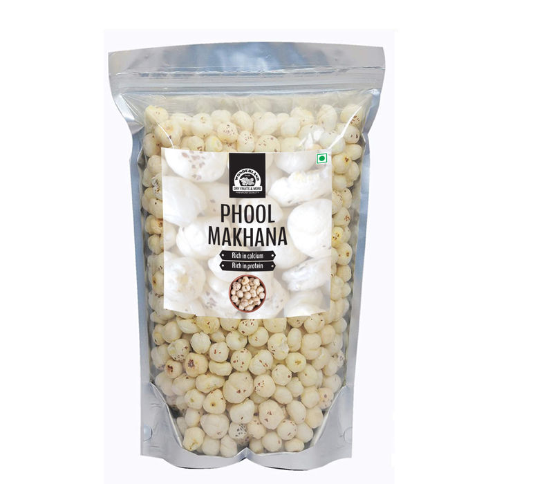 Wonderland Foods Jumbo Size Phool Makhana | (Full Makhana) Lotus Seed Pop | Gorgon Nut Puffed Kernels | 500 Grams