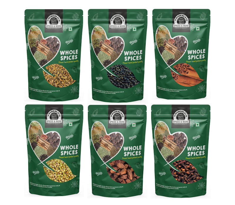 Wonderland Foods Premium Quality Combo of Whole Spices (100 Gram Each x 6 Pack) (6 x 100 g)