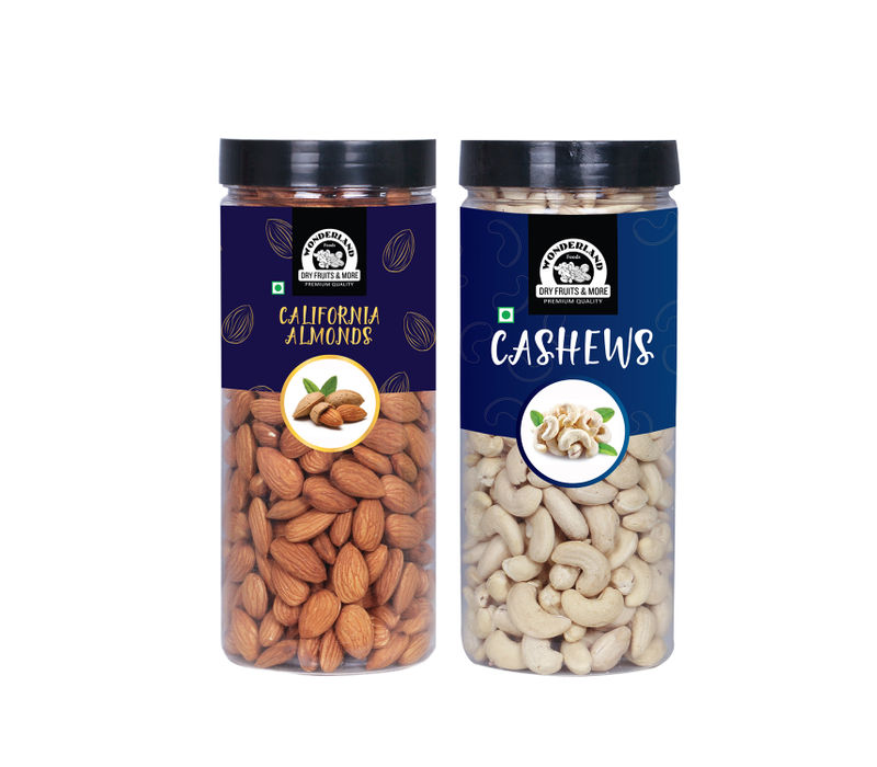 Wonderland Foods Premium Almond (500g) and Cashew (500g) 1kg Dry Fruits Combo Pack