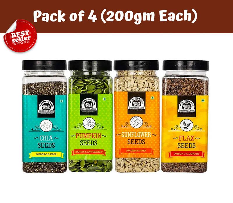 Roasted and Salted Chia Seeds 200gm + Pumpkin Seeds 200gm + Sunflower Seeds 200gm + Flax Seeds  200gm
