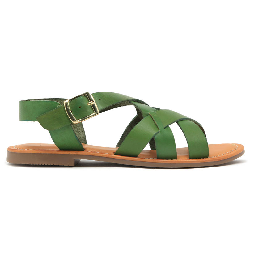 WomenRuosh For Casual Green Leather White Sandal Flats And Buy YyI6mbvgf7