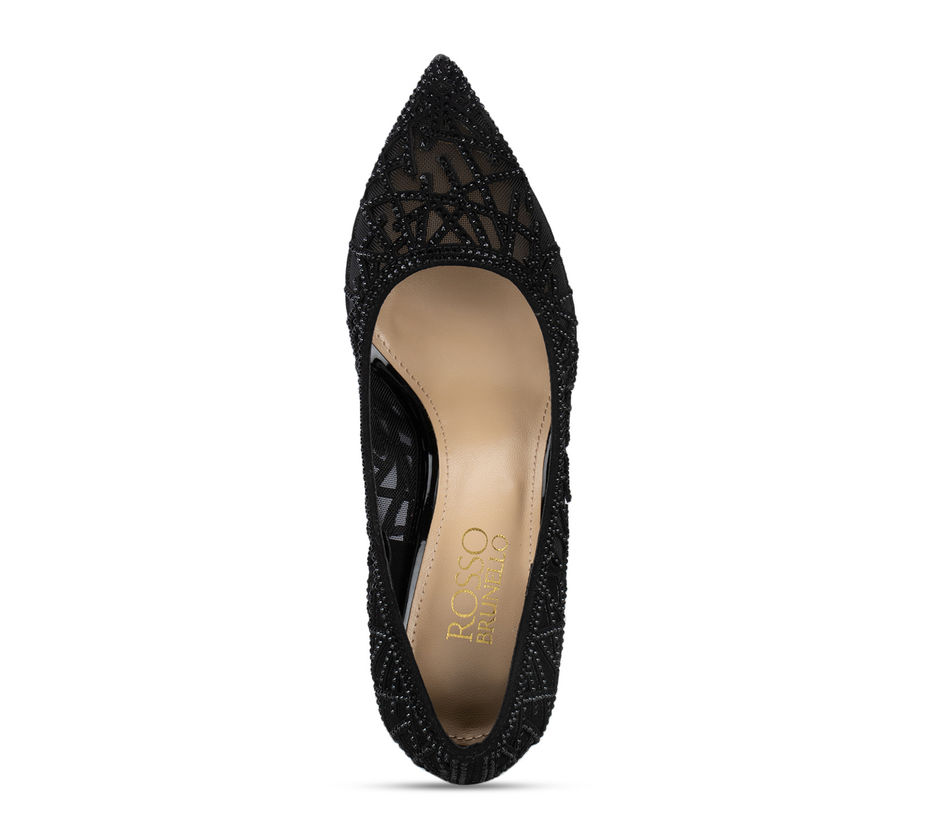 Black Mesh Embellished Heels