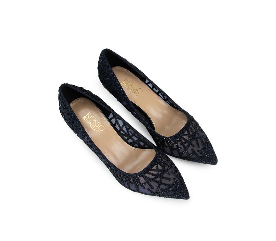 Blue Mesh Embellished Heels
