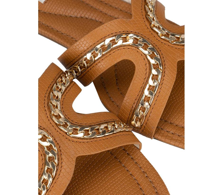 Beige Chain Embellished Flats