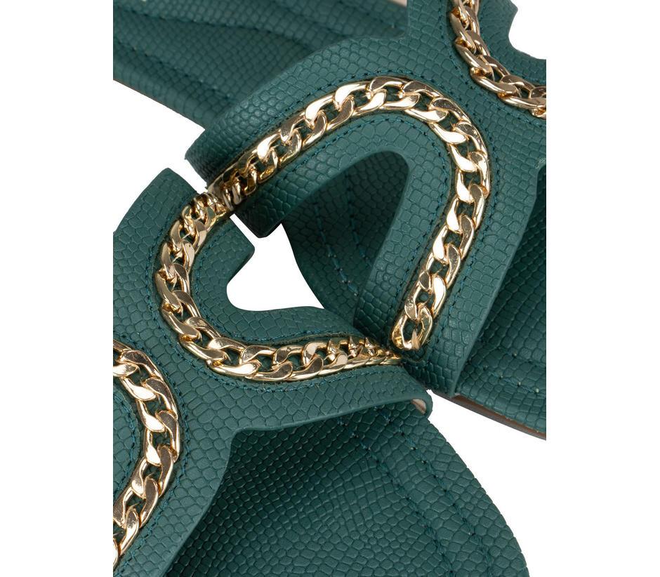 Green Chain Embellished Flats