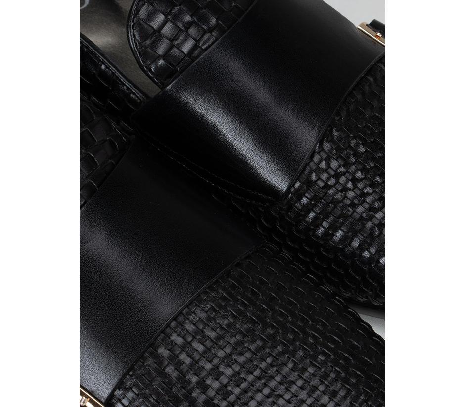 Black Woven Pattern Monk Straps