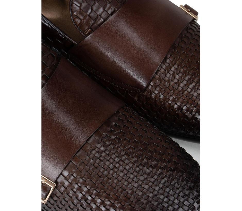 Brown Woven Pattern Monk Straps