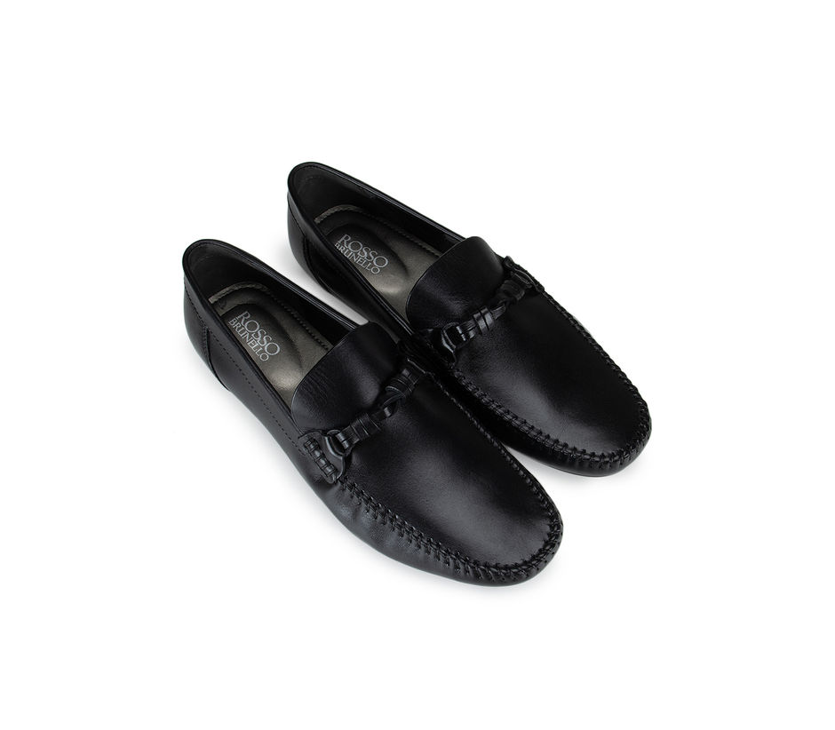 Black Plain Leather Moccasins With Knot Detail