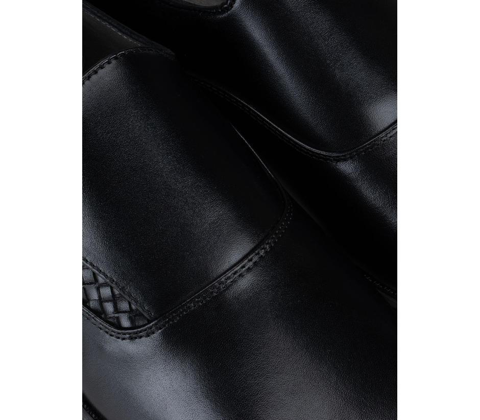 Black Weaved Monk Straps